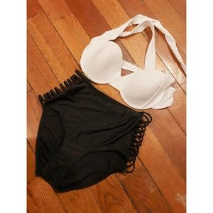 High waisted two piece bathing suit